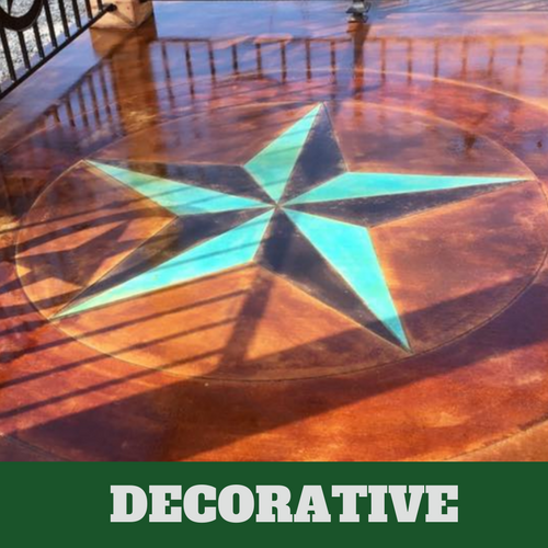 Decorative concrete with a teal colored compass.