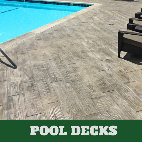 Hartford stamped concrete pool surround with a wood grain finish.